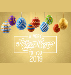 background with decorated easter eggs design of vector image