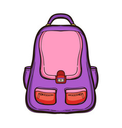 Backpack with school supplies school bag vector