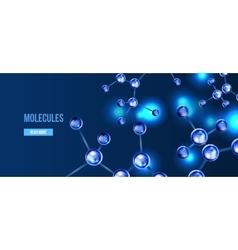 Banners with blue molecules design vector