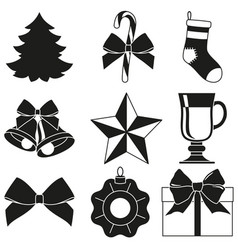black and white 9 new year elements silhouette set vector image