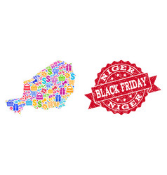 Black friday collage of mosaic map of niger and vector