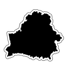 black silhouette of the country belarus with the vector image