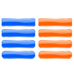 blue and orange glass buttons shiny rectangle 3d vector image