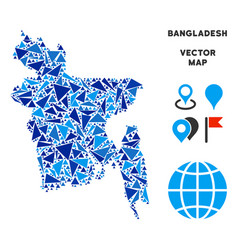 blue triangle bangladesh map vector image