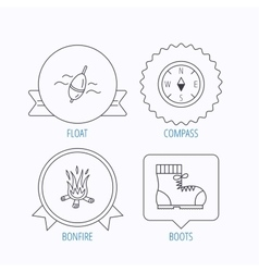 Bonfire fishing float and hiking boots icons vector