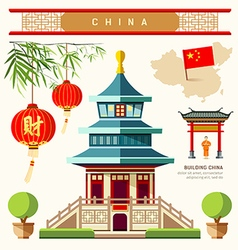 Buildings of China style collections vector image