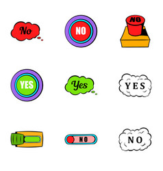 Button no icons set cartoon style vector