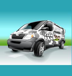 cartoon farm van with abstract cow skin theme vector image