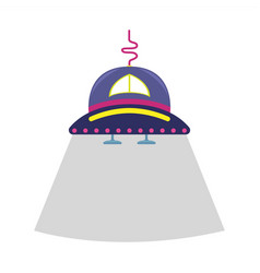 cartoon flat with a alien ship vector image