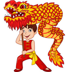 Cartoon kid performing dragon dance vector