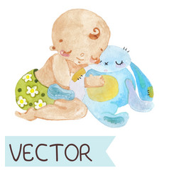 cartoon of cute child vector image