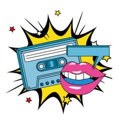 Cassette nineties with lips in explosion pop vector