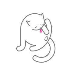 Cat licks itself isolated pet vector