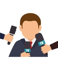 Character interview news microphone graphic vector