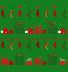 Christmas background socks and souvenirs in boxes vector