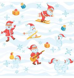 Christmas pattern with Santa snowman snowflakes vector image