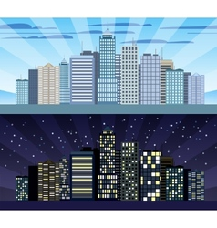 Cityscape tileable border day and night vector image