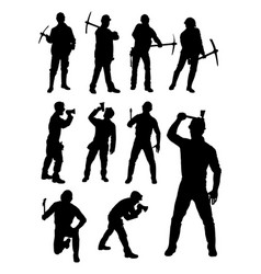 construction worker gesture silhouette vector image