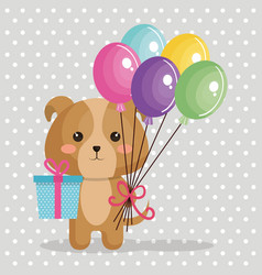cute dog with balloons air kawaii birthday card vector image