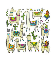 cute lamas collection for your design vector image