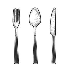 Cutlery set sketch engraving vector