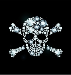Diamond skull and crossbones vector