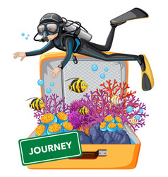 diving underwater on suitcase vector image