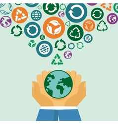 ecology concept - human hands holding globe with vector image
