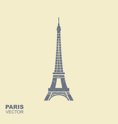 eiffel tower icon in flat style with scuffing vector image