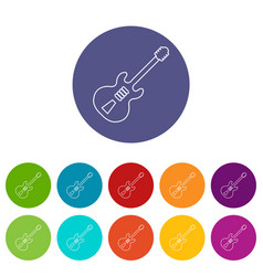 electric guitar icons set color vector image