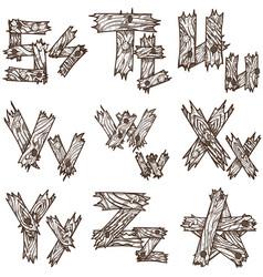 English alphabet from pieces wood original vector