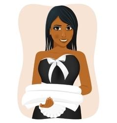 Female african american housekeeping worker vector