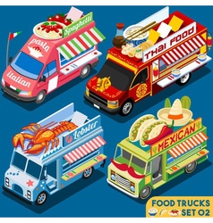 Food Truck Set02 Vehicle Isometric vector image