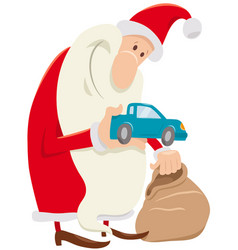 funny santa claus cartoon character with presents vector image