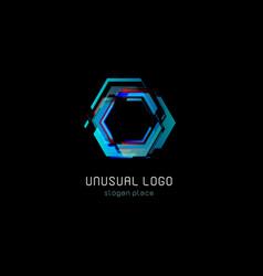 futuristic reactor abstract colorful logo vector image