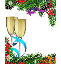 Glasses of champagne and Christmas tree branches vector image