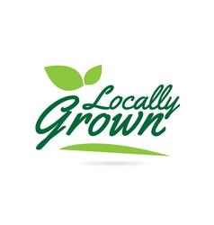 Green leaf locally grown hand written word text vector
