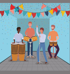 Group men playing instruments in room vector