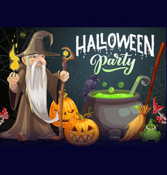 halloween party cartoon poster with wizard vector image