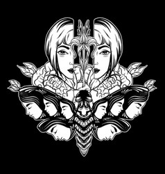 Hand drawn moth with female faces on wings vector