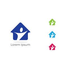happy home icon help poor unity logo vector image