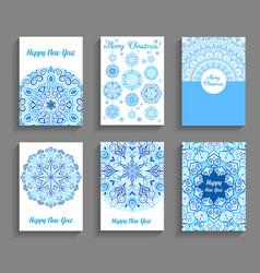 happy new year cards flourish mandala design vector image