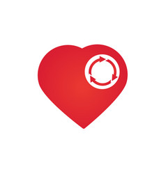 heart with three arrows in circle recycle heart vector image