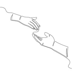 helping hand concept continuous line vector image