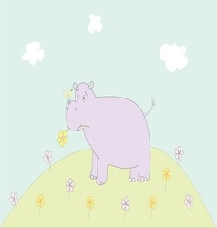 Hippopotamus in a meadow vector