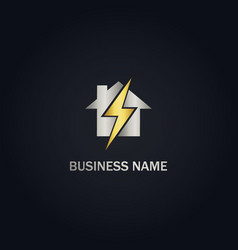 home electric bolt gold logo vector image