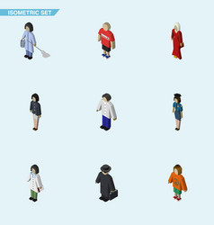 isometric human set of doctor girl male and vector image