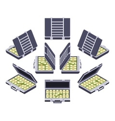 Isometric open briefcase with the money vector image