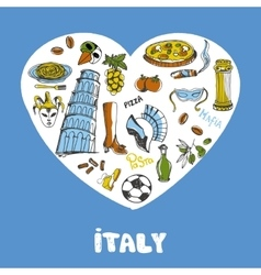 Italy Colored Doodles Collection vector image