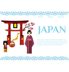 japan symbols for travellers web template vector image